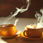 two cups of hot tea